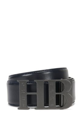 Reversible Leather Belt | Balwinno, Dark Blue