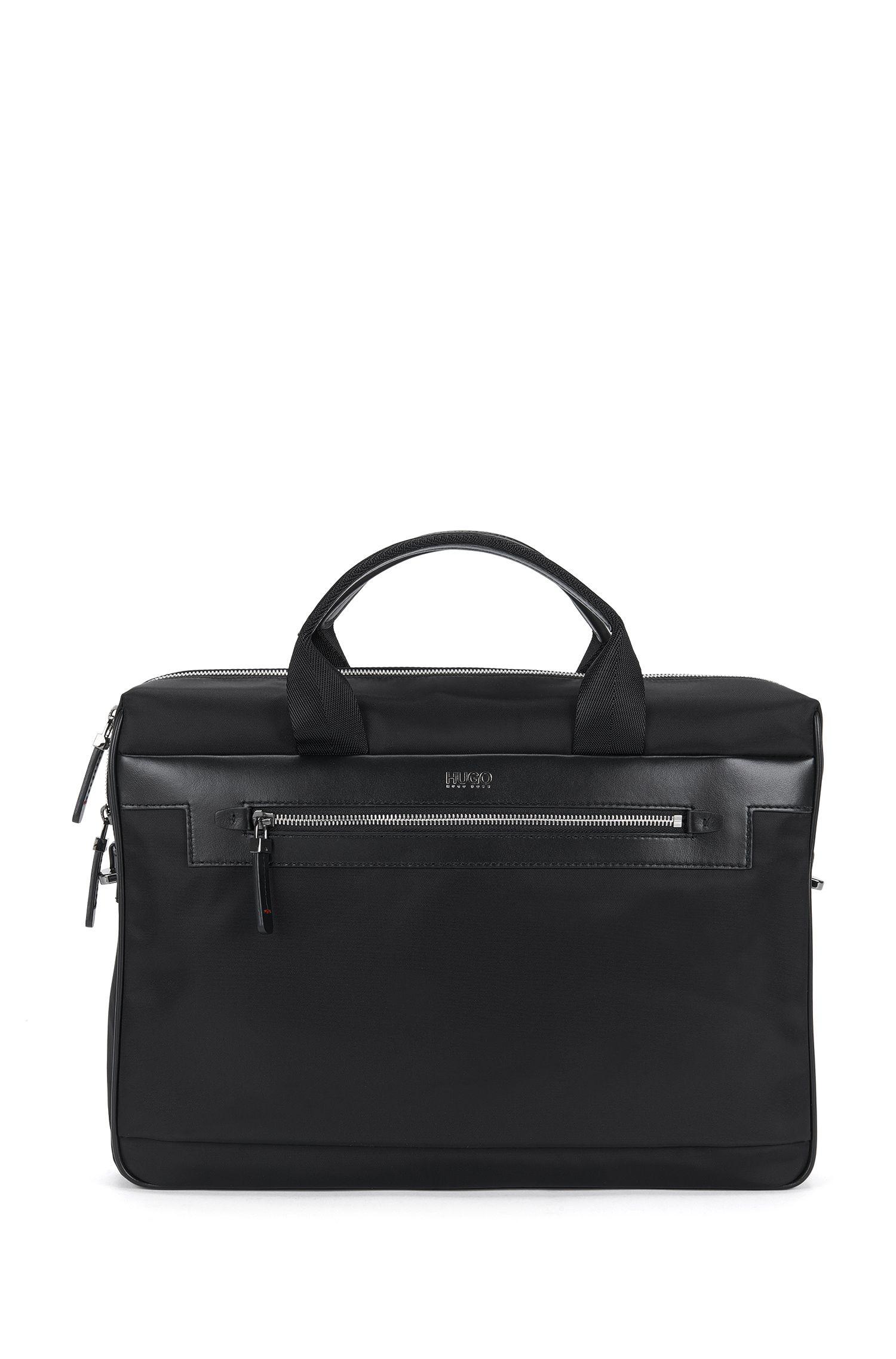 'Digital L S Doc' | Nylon Vegan Leather Workbag, Detachable Shoulder Strap
