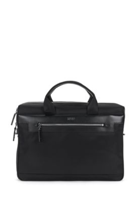 'Digital L S Doc' | Nylon Vegan Leather Workbag, Detachable Shoulder Strap, Black