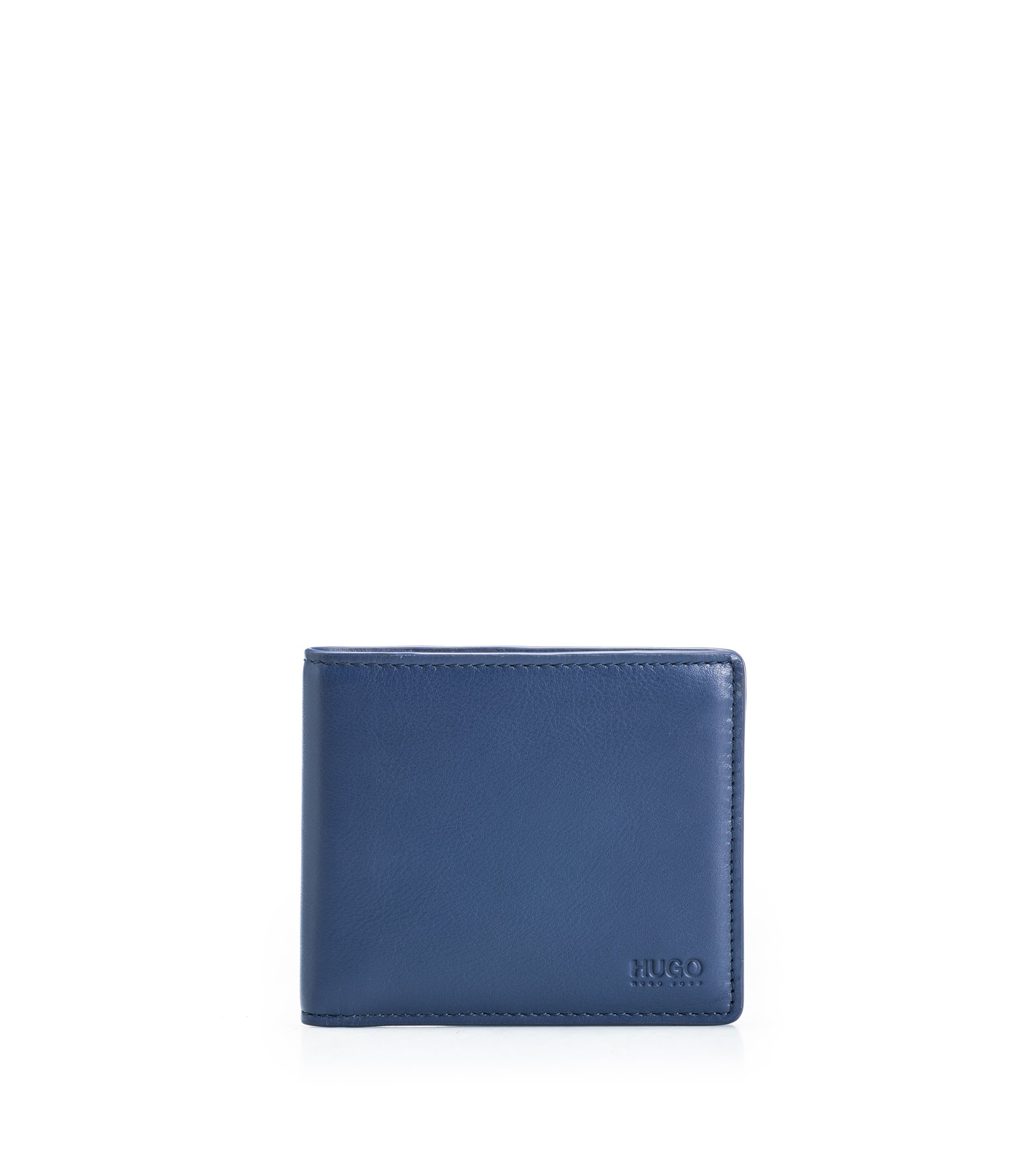 Bi-fold wallet in smooth leather, Dark Blue