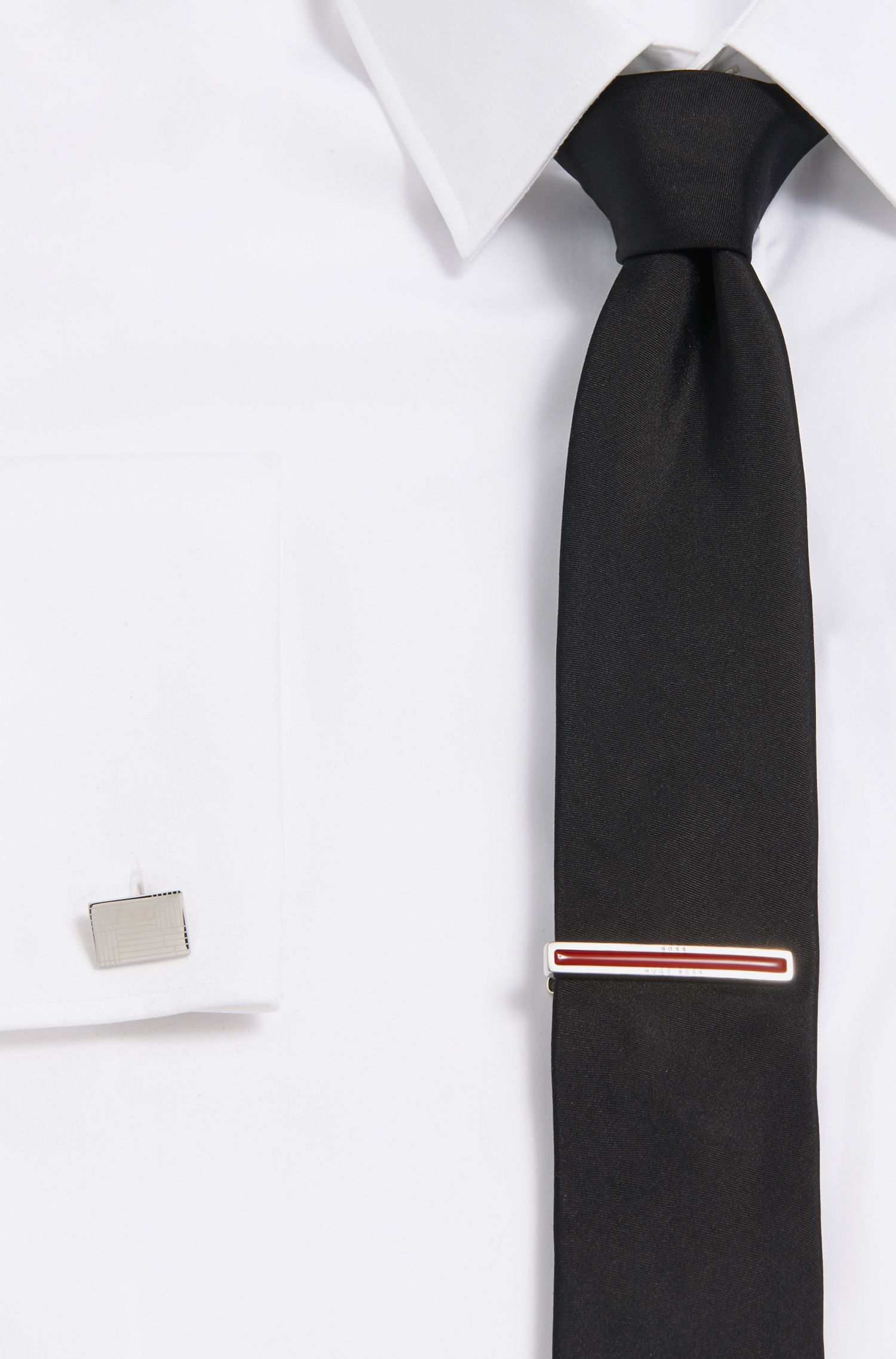 Tie clip with enamel core, Red