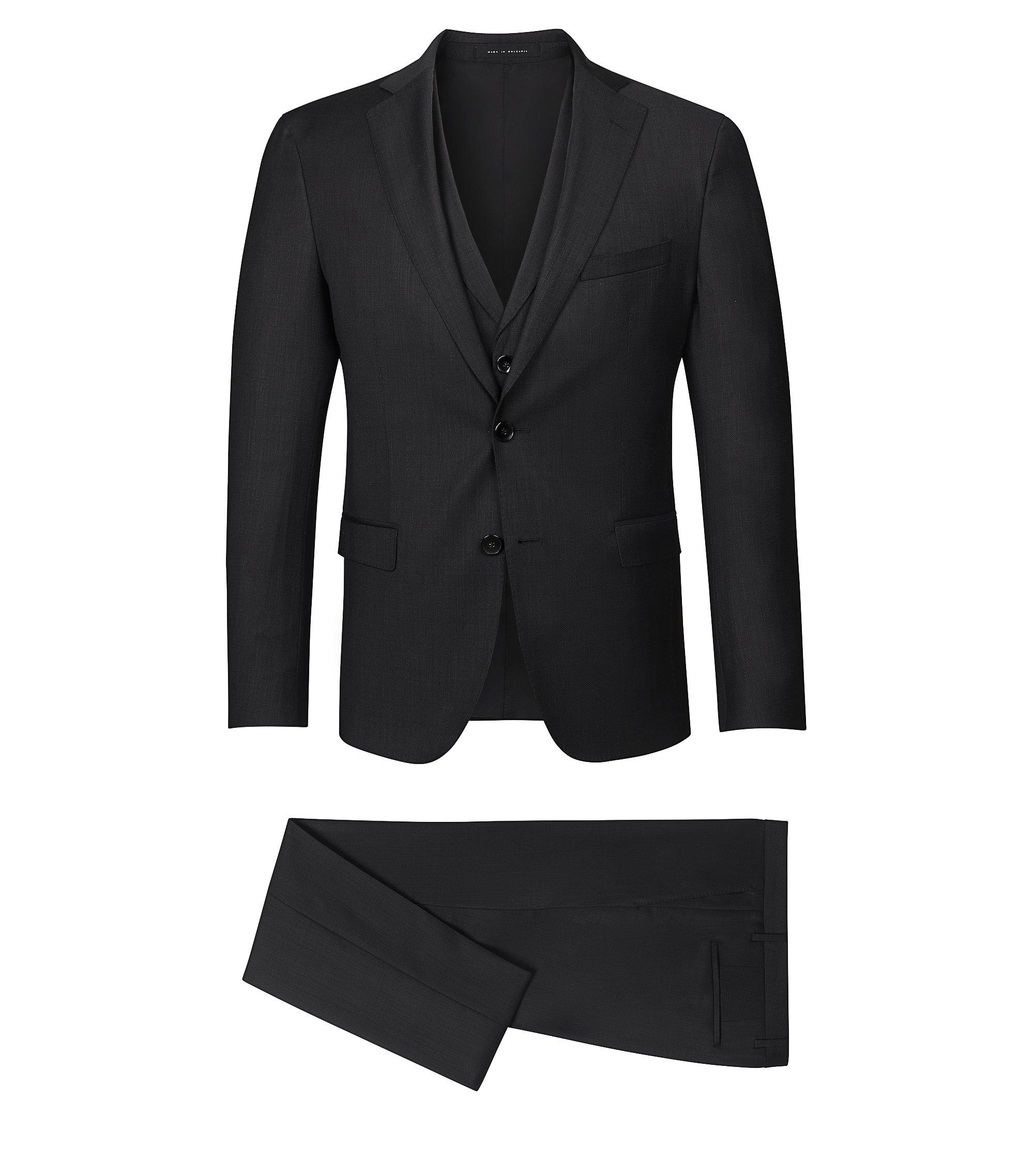 Stretch Virgin Wool Blend 3-Piece Suit, Extra-Slim Fit | Reyno/Wave WE, Black