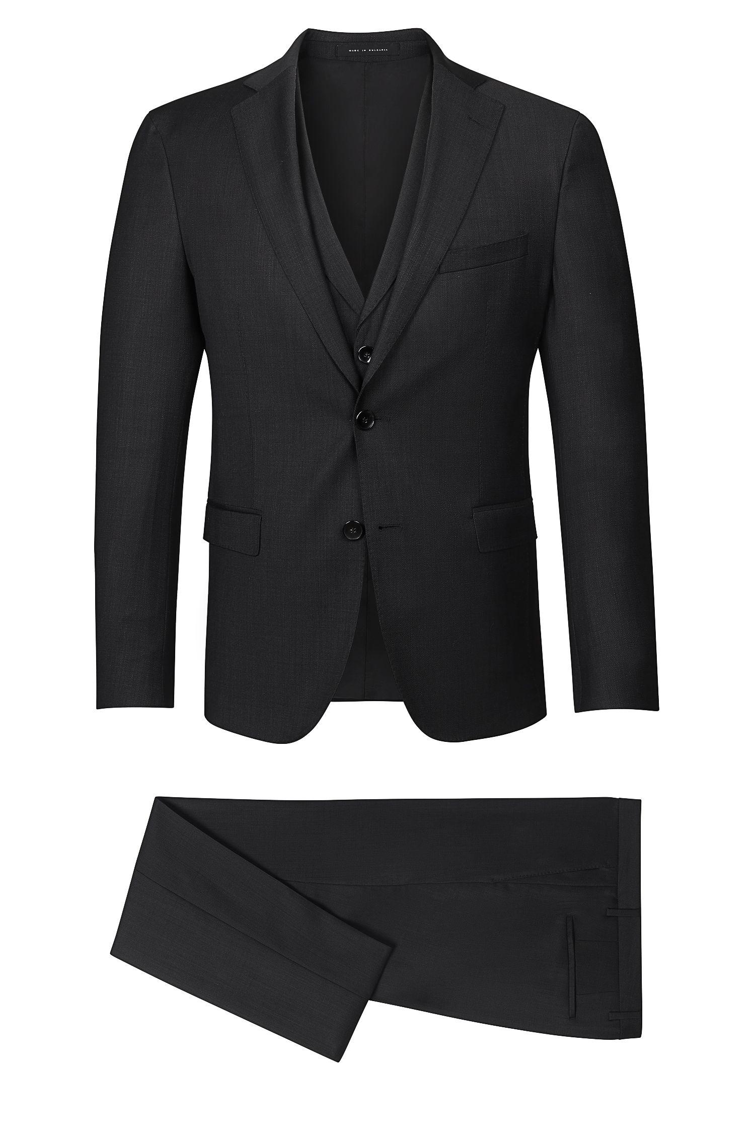 Stretch Virgin Wool Blend 3-Piece Suit, Extra-Slim Fit | Reyno/Wave WE