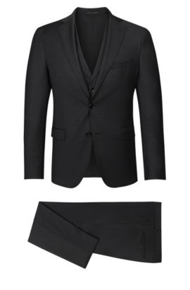 Stretch Virgin Wool Blend 3-Piece Suit, Extra-Slim Fit | Reyno/Wave WE, Black