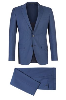 Super 120 Italian Virgin Wool Suit, Slim Fit | Huge/Genius, Dark Blue