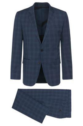 'Huge/Genius'   Slim Fit, Virgin Wool Suit, Dark Blue