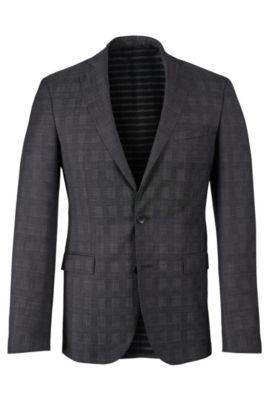 Virgin Wool Sport Coat, Extra Slim Fit   Ross, Open Grey