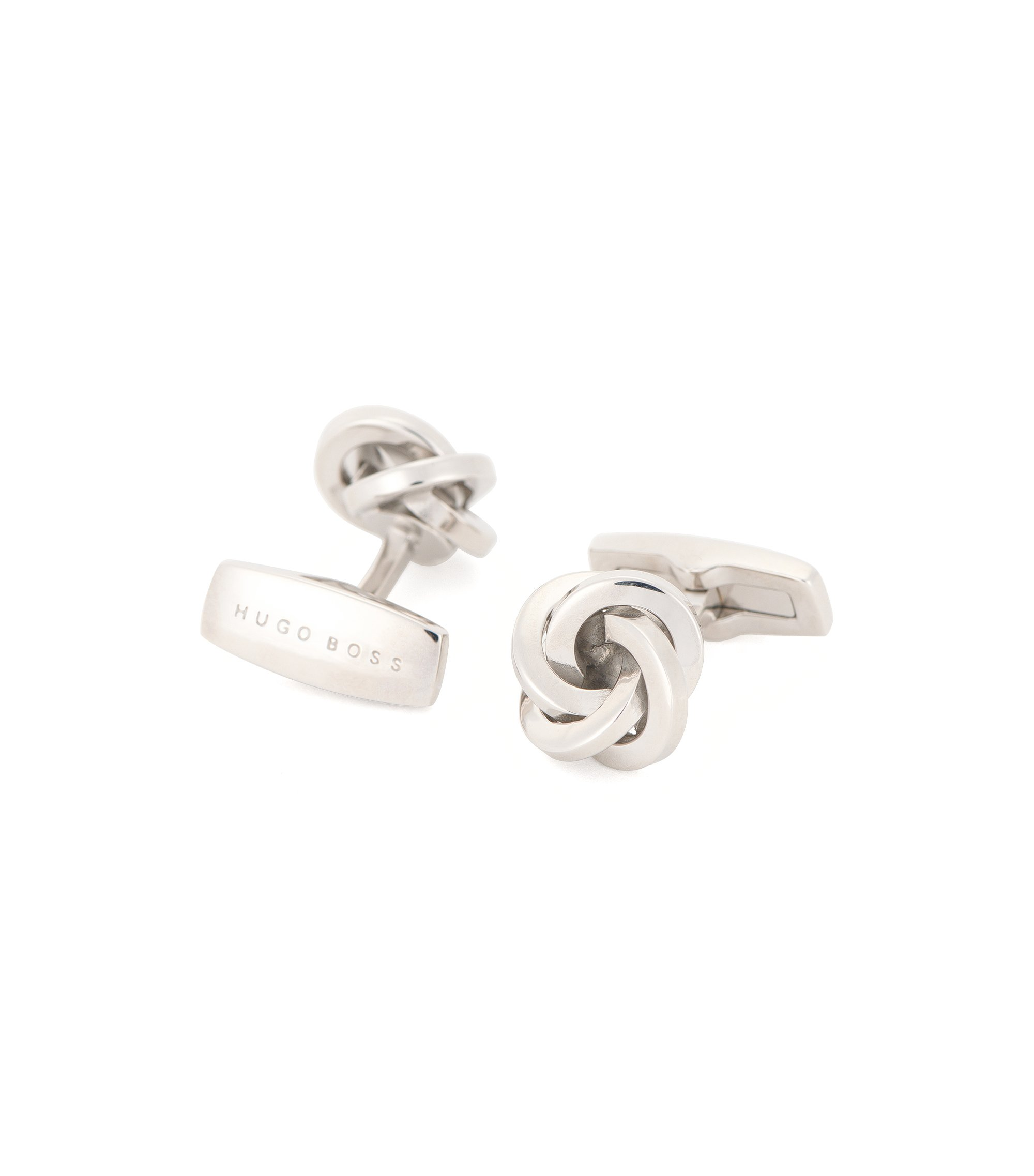 Knotted cufflinks in hand-polished brass, Silver