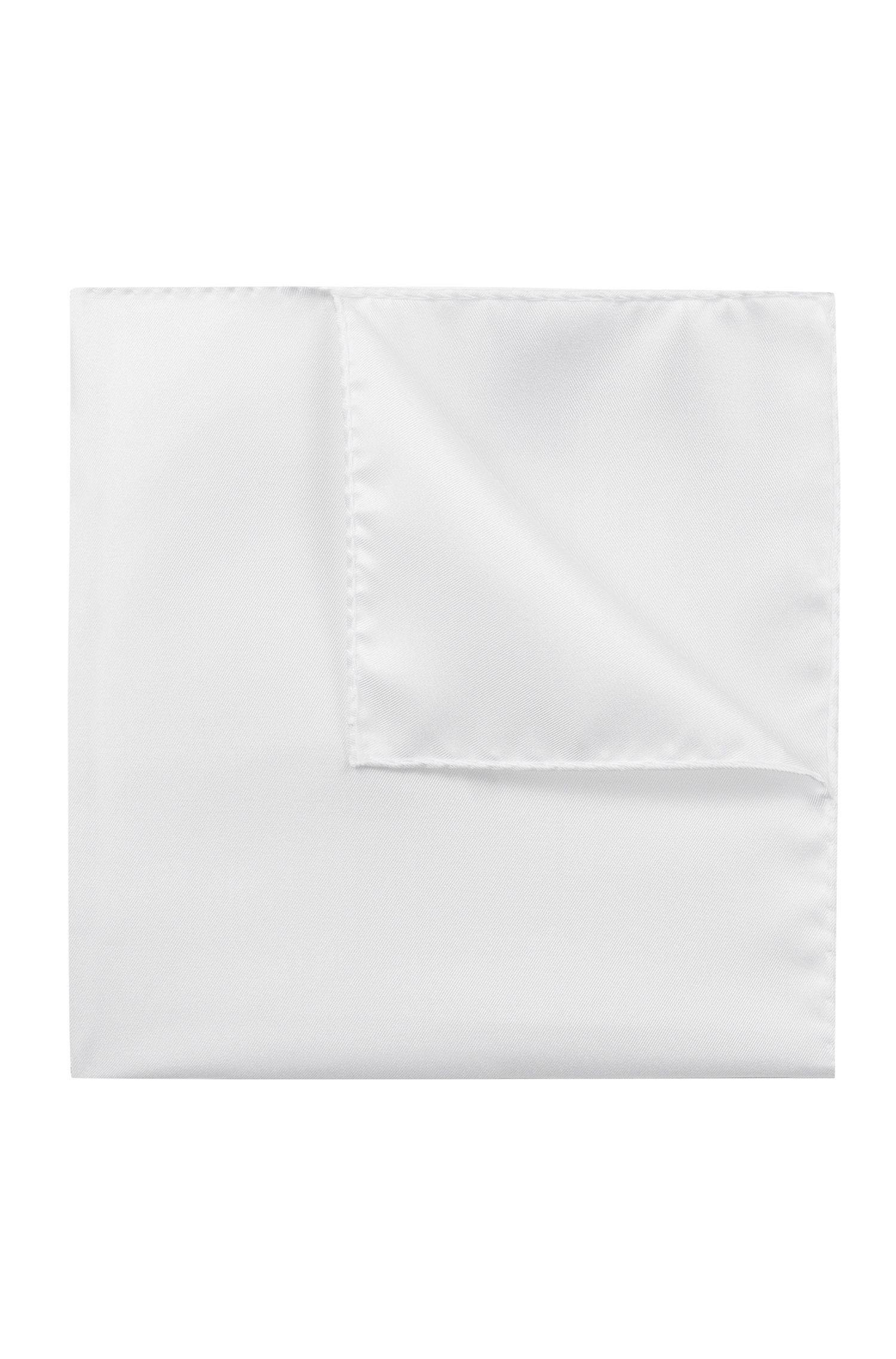 Silk Twill Pocket Square, Open White