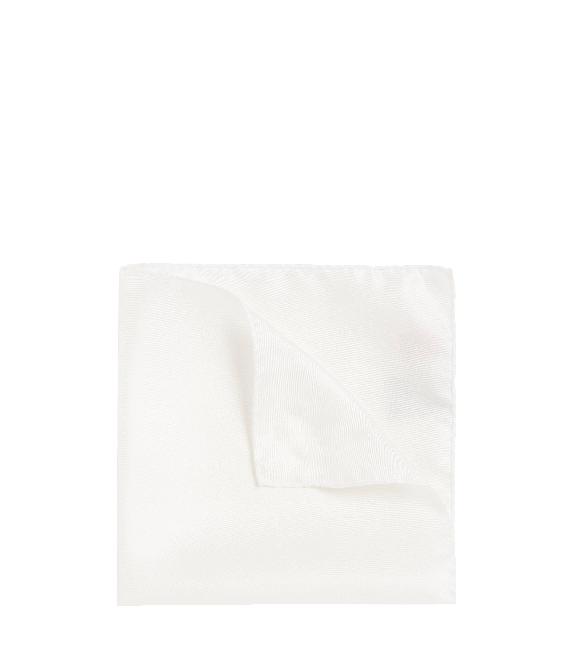 Silk Twill Pocket Square, Open White