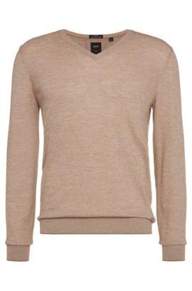 'T-Harrie' | V-Neck Italian Virgin Wool Cotton Sweater, Open Beige