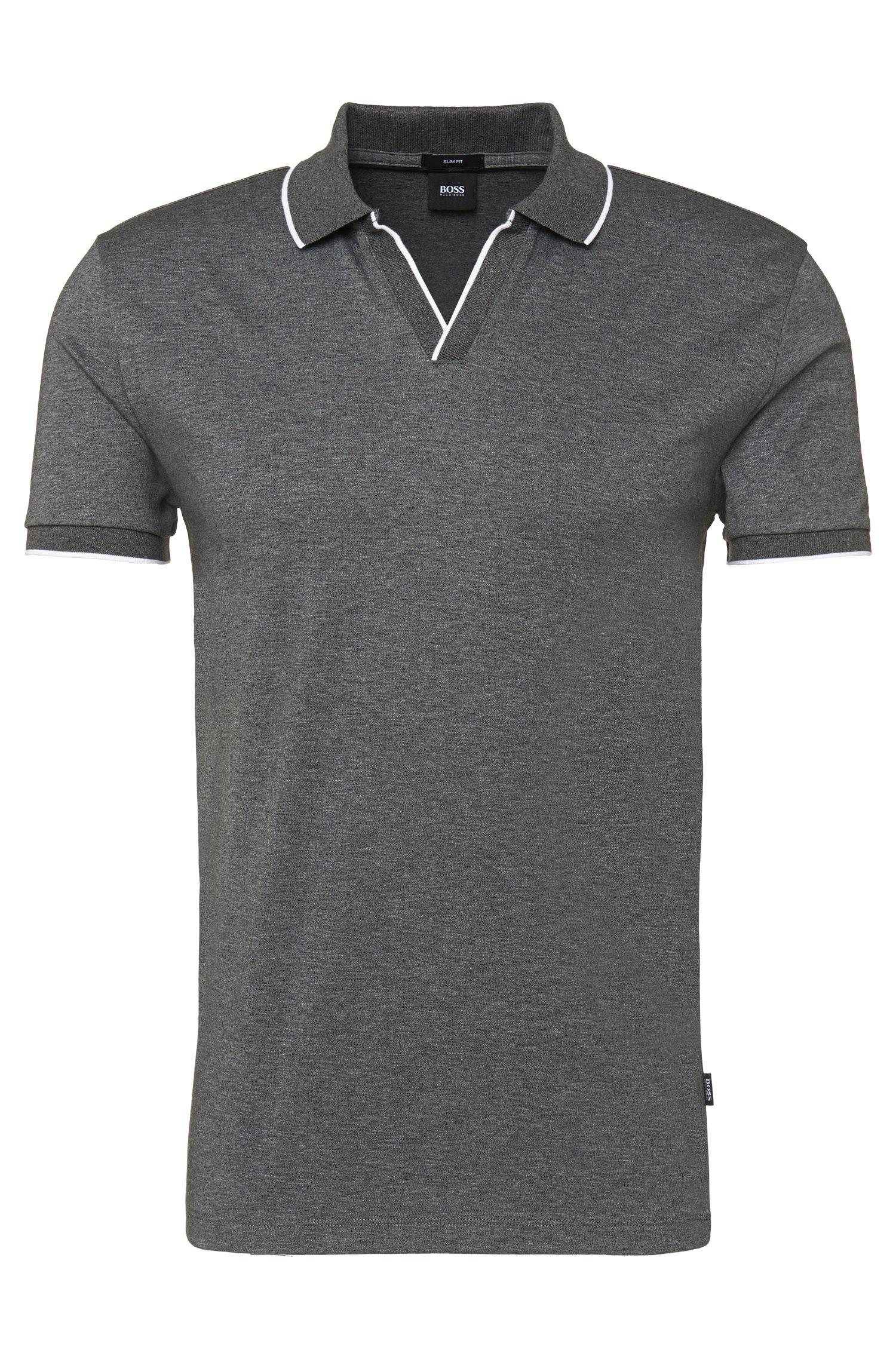 'Phillipson'   Slim Fit, Cotton Surplice V-Neck Polo