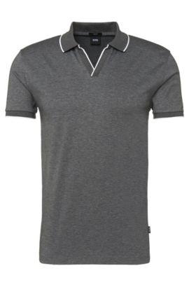 'Phillipson'   Slim Fit, Cotton Surplice V-Neck Polo, Grey