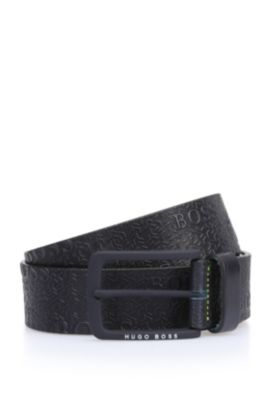 'Tad Sz40 ltem' | Leather Printed Belt, Dark Blue