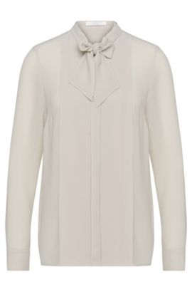 'Baling' | Stretch Crepe Draped Bow Blouse, Light Beige