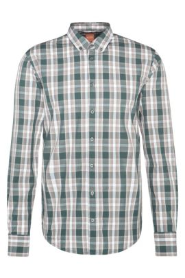 'EdipoE' | Slim Fit, Cotton Printed Button Down Shirt, Dark Green