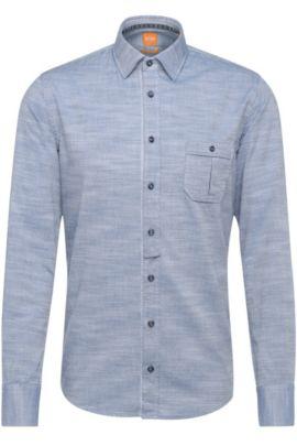 'EslimE'   Extra Slim Fit, Cotton Button Down Shirt, Dark Blue