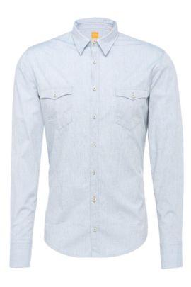 'EdoslimE' | Slim Fit, Cotton Blend Slub Contrast Button Down Shirt, Blue