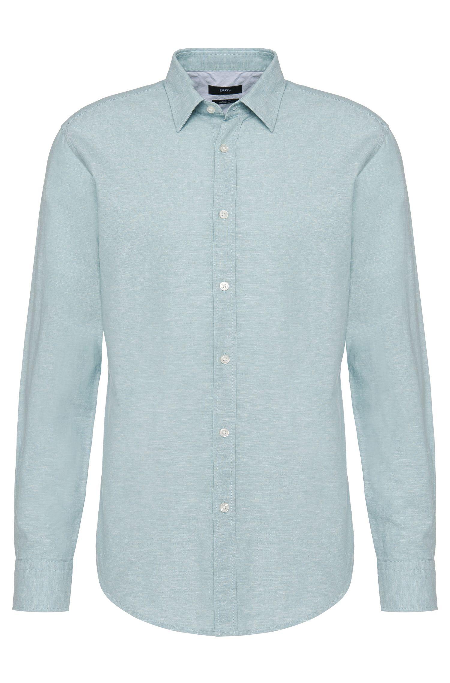 'Ronni' | Slim Fit, Cotton Linen Button Down Shirt