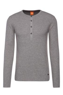 'Topsider' | Cotton Waffle Knit Henley Shirt, Light Grey