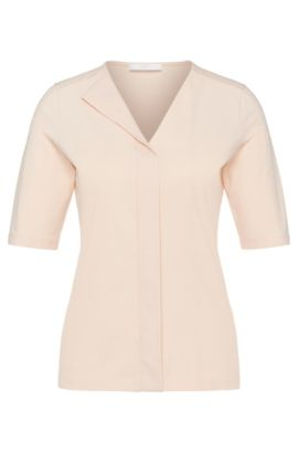 'Eskel' | Stretch Cotton Layered V-neck Blouse, Light Orange