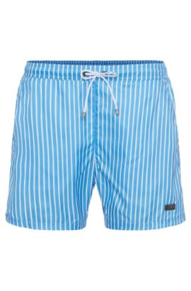'Marlin' | Striped Swim Trunks, Open Blue