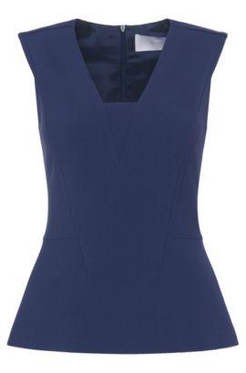 'Isiela' | Stretch Cotton Blend Peplum Sleeveless Top, Open Blue