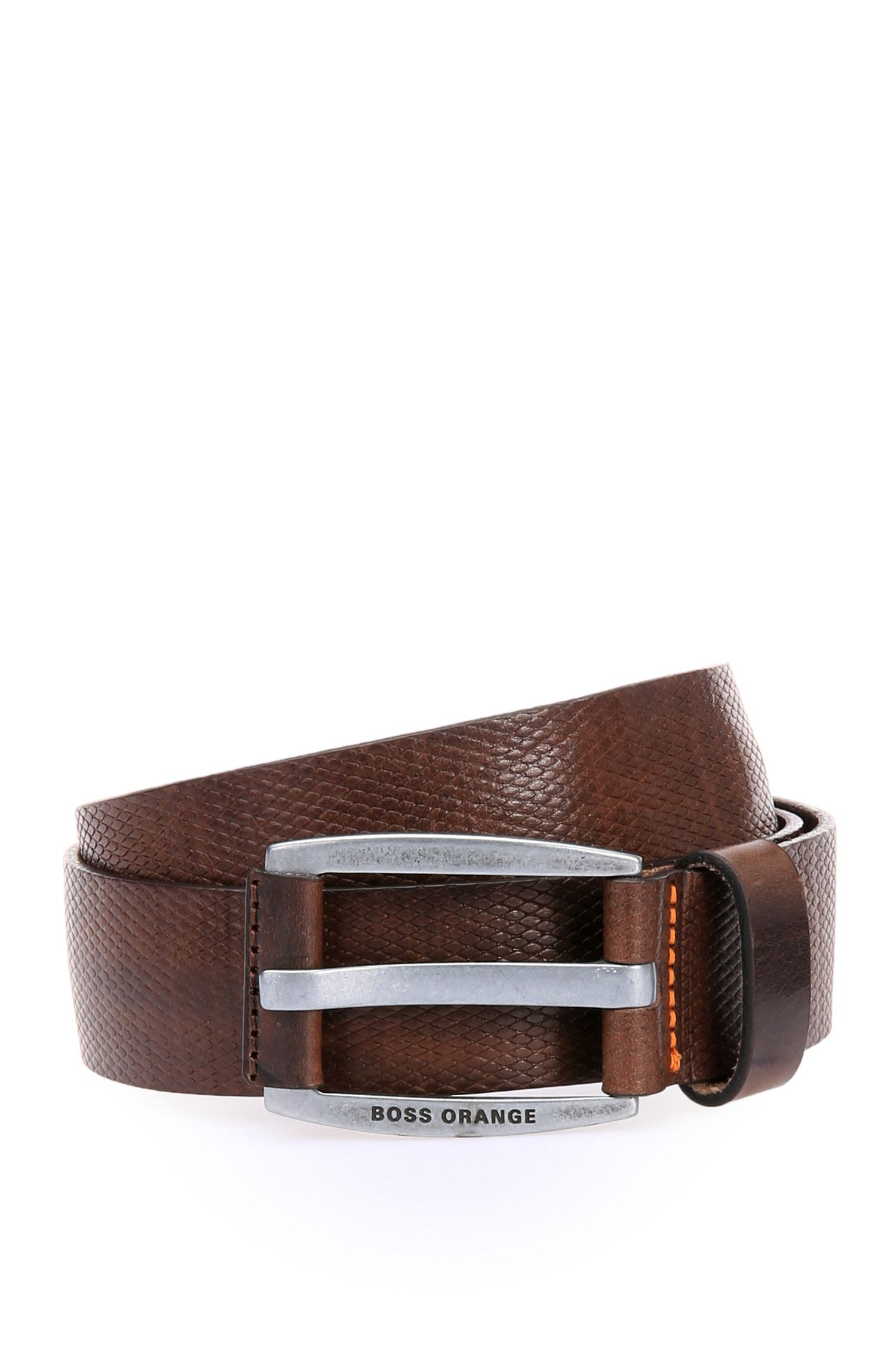 'Jakaba Sz Item' | Leather Diamond-Texture Belt
