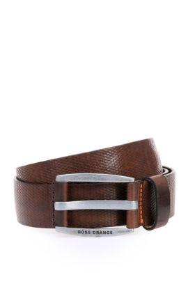 'Jakaba Sz Item'   Leather Diamond-Texture Belt, Dark Brown