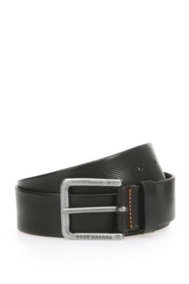'Jeeky Sz ltem' | Textured Leather Belt by BOSS, Black