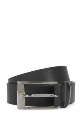 'C Grason Sz Item' | Leather Textured Belt, Black