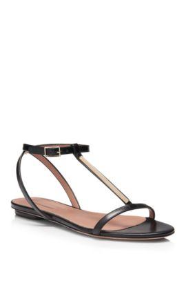 'Staple Sandal Flat' | Italian Calfskin T-Strap Sandal, Black