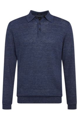 'T-Hugh' | Regular Fit, Italian Linen, Wool Polo Sweater, Dark Blue