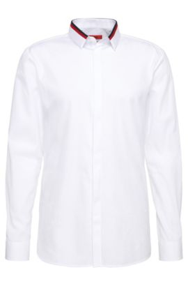 'Ewid'   Slim Fit, Cotton Contrast Button Down Shirt, Open White