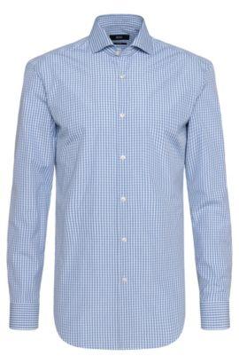 Checked Cotton Dress Shirt, Slim Fit | Jason, Turquoise