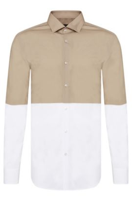 Colorblocked Cotton Dress Shirt, Slim-Fit | Jeven, Open Beige