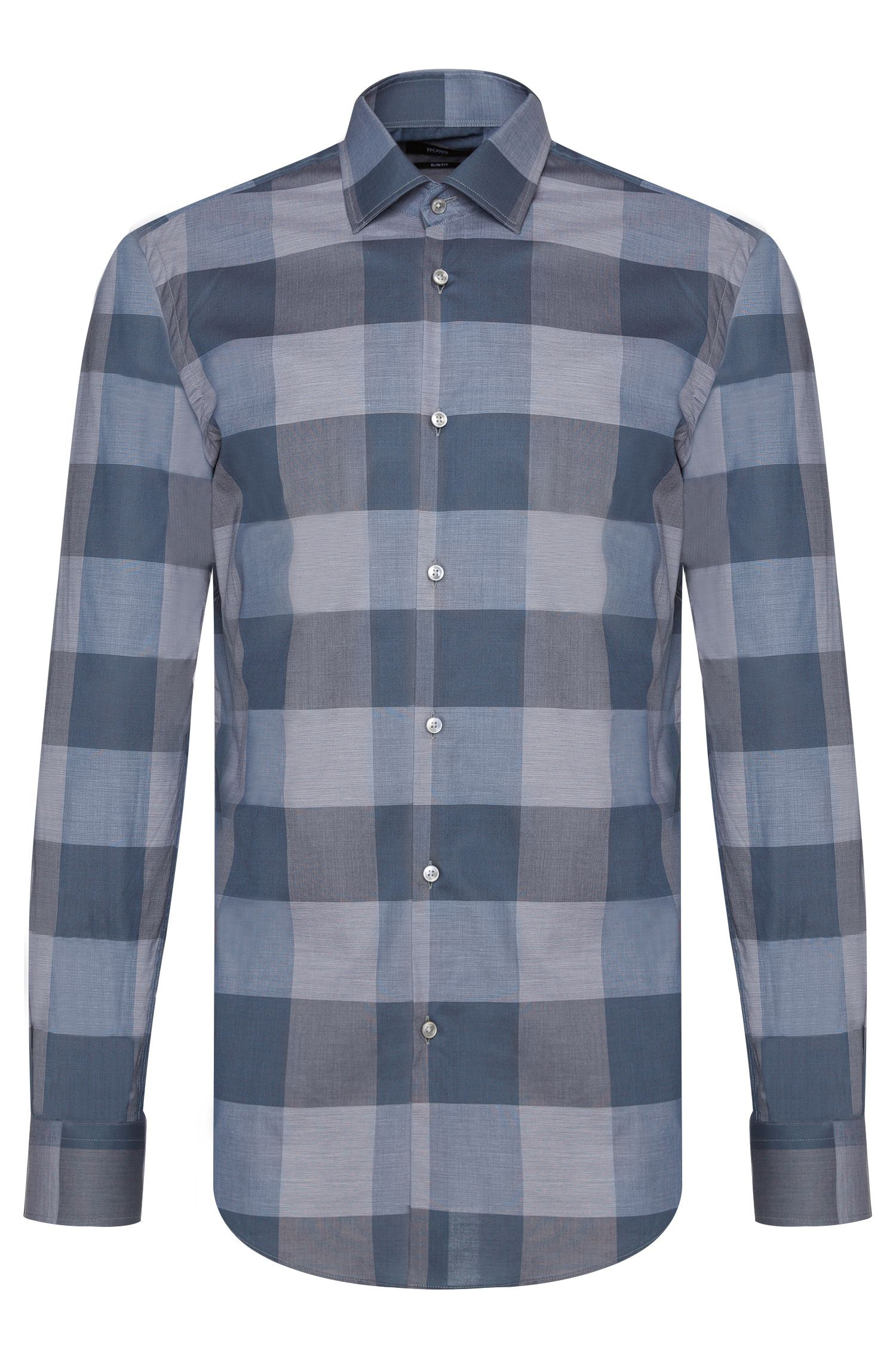 Oversized Check Italian Cotton Dress Shirt, Slim Fit | Jenno