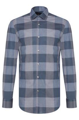 Oversized Check Italian Cotton Dress Shirt, Slim Fit | Jenno, Turquoise