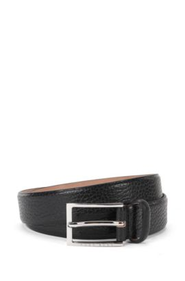 'Ceddyso' | Leather Grained Belt, Black