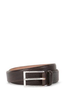 'Ceddyso' | Leather Grained Belt, Dark Brown