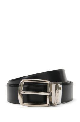 'Ofer Or35 Ps' | Leather Handmade Reversible Belt, Black