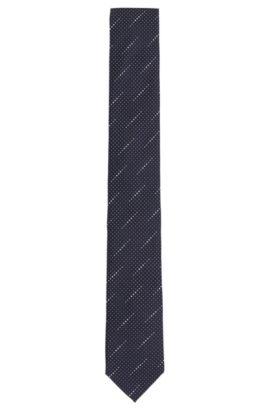 'Tie 6 cm' | Slim, Silk Dot Weave Tie, Blue