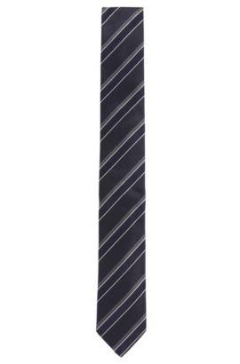'Tie 6 cm' | Slim, Silk Patterned Tie, Dark Blue