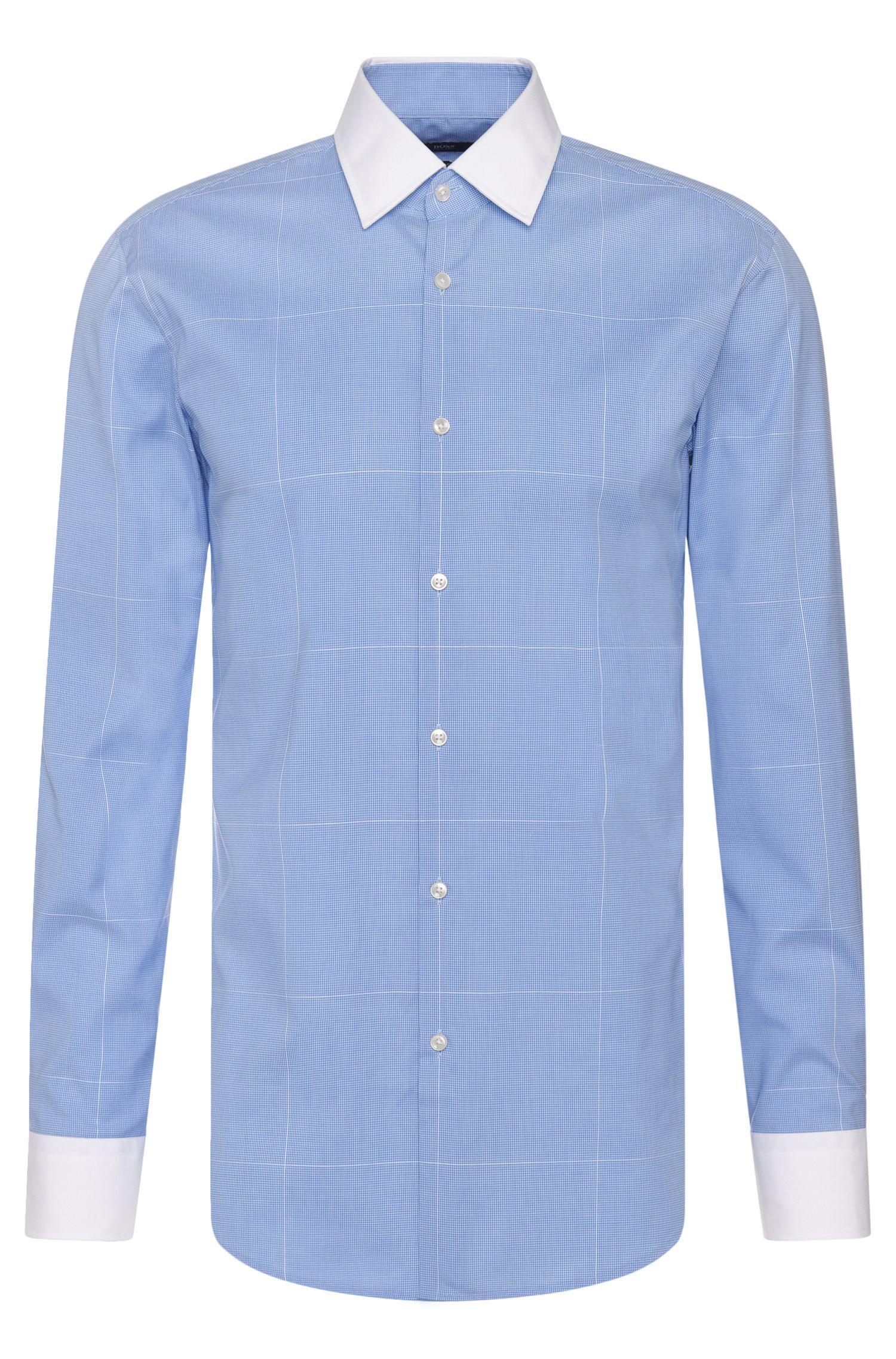 Windowpane Easy-Iron Cotton Dress Shirt, Slim Fit| Jonnes