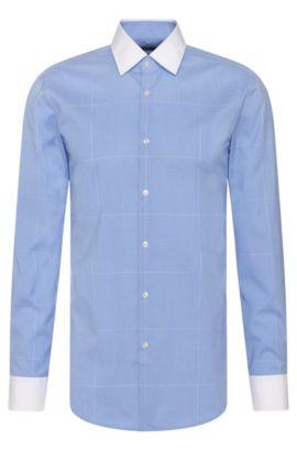 Windowpane Easy-Iron Cotton Dress Shirt, Slim Fit| Jonnes, Light Blue