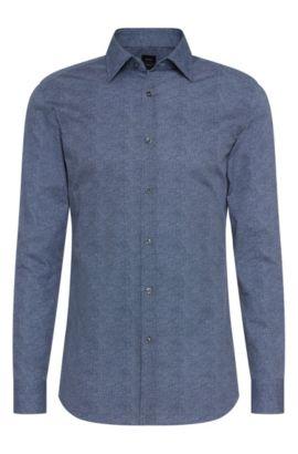 Italian Cotton Dress Shirt, Slim Fit   T-Shane, Dark Blue