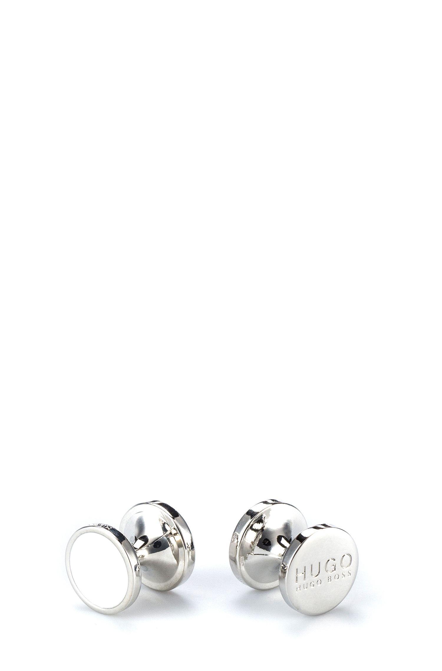 Round cufflinks with enamel detail , Open White