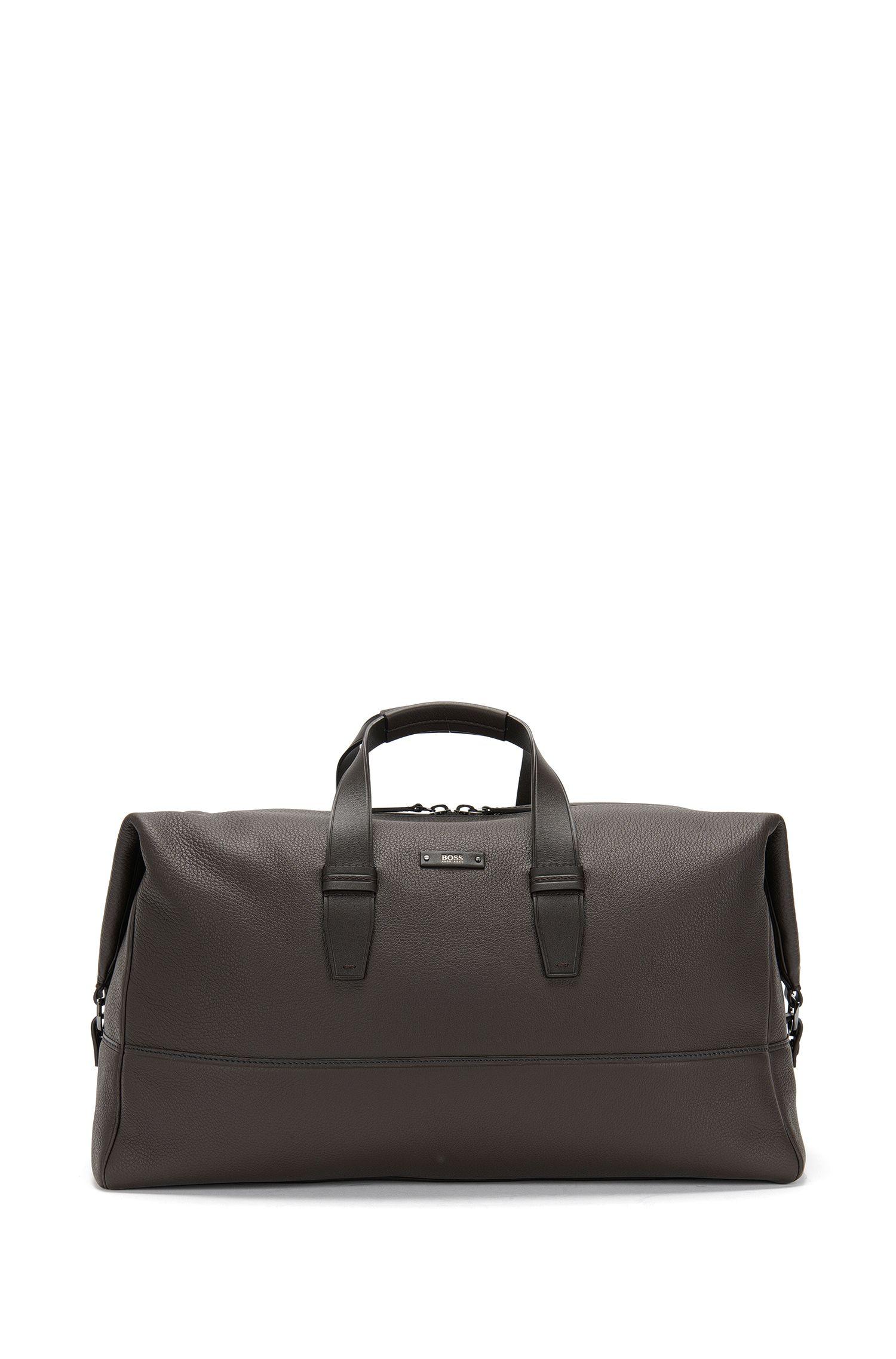 'Aspen Holdall'   Italian Leather Weekender Bag, Removable Shoulder Strap