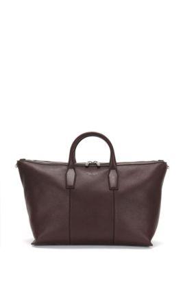 'Elite_Holdall' | Italian Leather Weekender Bag, Removable Shoulder Strap, Dark Red