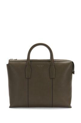 'Elite S Doc' | Italian Calfskin Workbag, Detachable Shoulder Strap, Khaki